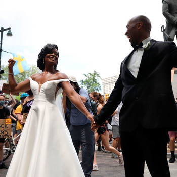 bride groom wedding philadelphia protest