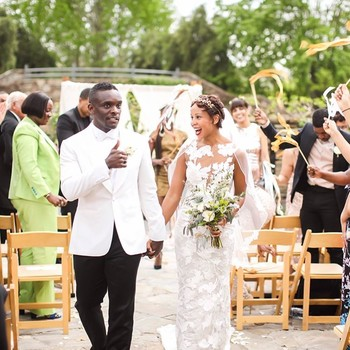 Chris Chalk and Kimberley Dalton Mitchell Walking Down the Aisle