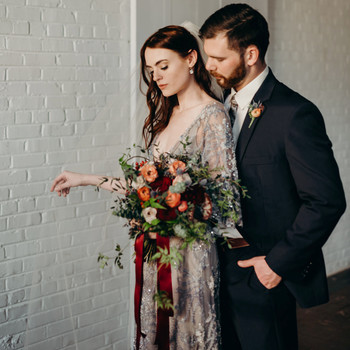 elopement outfit inspiration bride in blue beaded gown