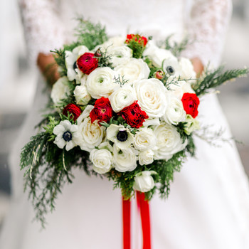lauren christian christmas wedding bridal bouquet red and white flowers