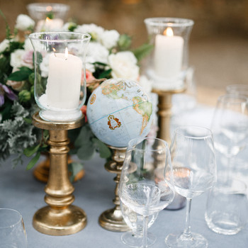 wedding decor globe table number candles