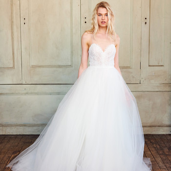 amsale christos spaghetti strap tulle wedding dress spring 2018