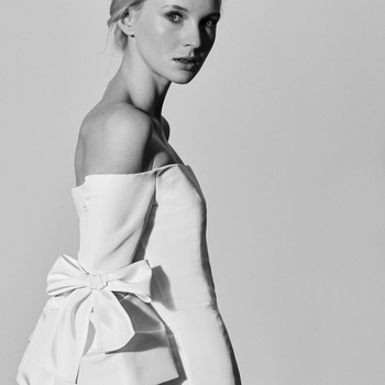 Carolina Herrera Wedding Dress with Off-the-Shoulder Neckline Spring2018