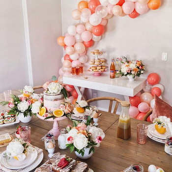 bridal shower ideas citrust inspired place settings peach white decor