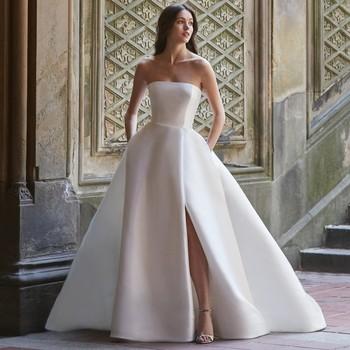 monique lhuillier bliss strapless high slit ball gown wedding dress spring 2020
