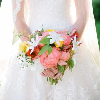 red, white, green, and yellow bouquet