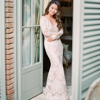 long sleeved wedding simple vneck dress