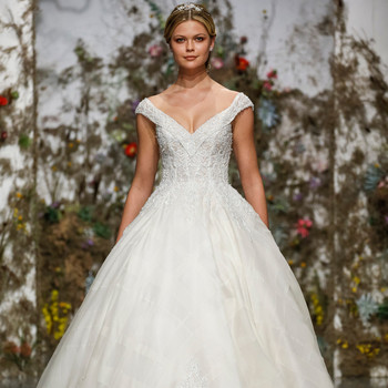off-the-shoulder v-neck ball gown Morilee by Madeline Gardner Spring 2020