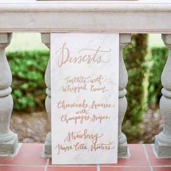 wedding dessert menu ideas marble sign