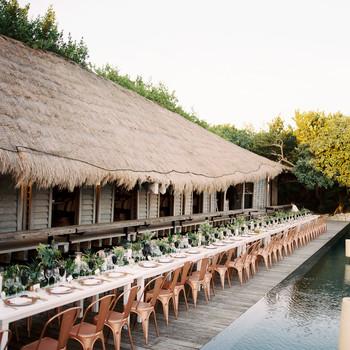 sara danny mexico wedding reception pool side