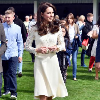 kate middleton white dress long sleeve lace