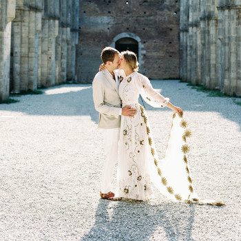 alexis zach wedding italy couple kiss dress