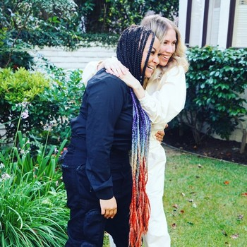 raven-symone and miranda pearman-maday backyard wedding photo