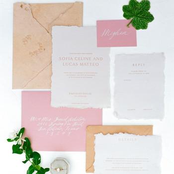 wedding invitation negative space soft hues