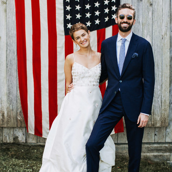 lizzie fortunato wedding photo american flag couple