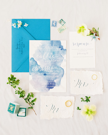 blue watercolor wedding invitation