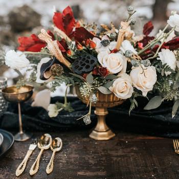 winter wedding centerpieces rmaggie grace photography