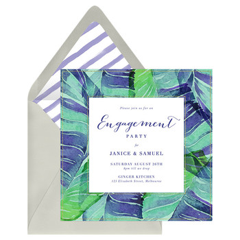 paperless engagement party invite green blue