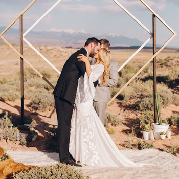 desert inspired wedding altar