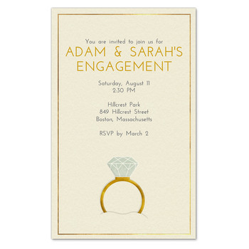paperless engagement party invite ring illustration