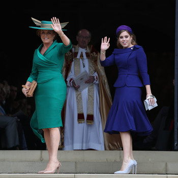 Sarah Ferguson and Princess Beatrice at Princess Eugenie 2018 royal wedding