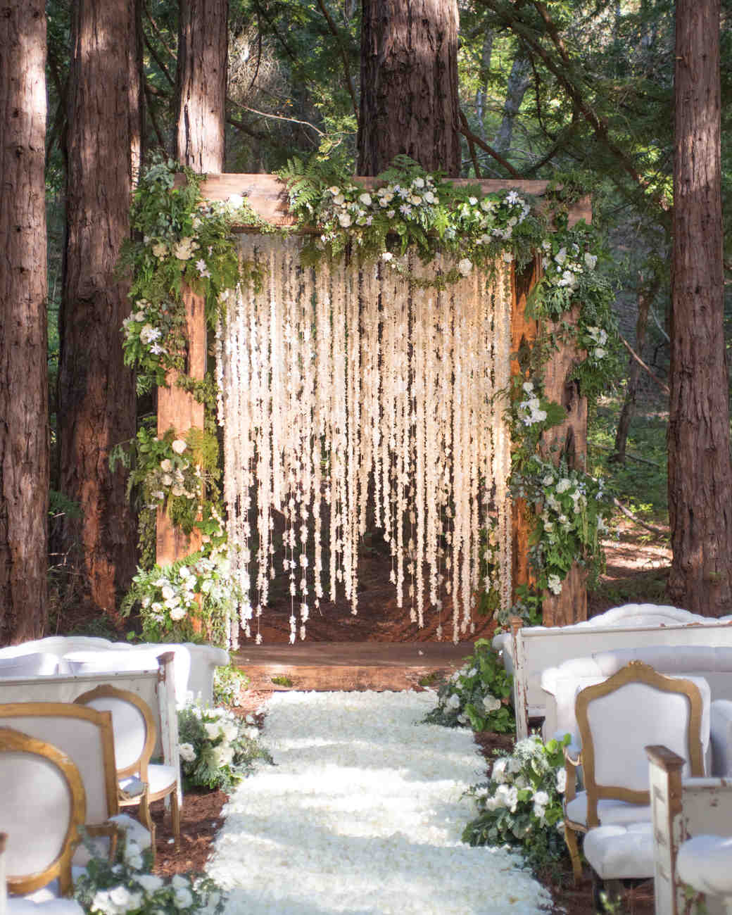 Woodsy Ceremony Aisle with White Petals
