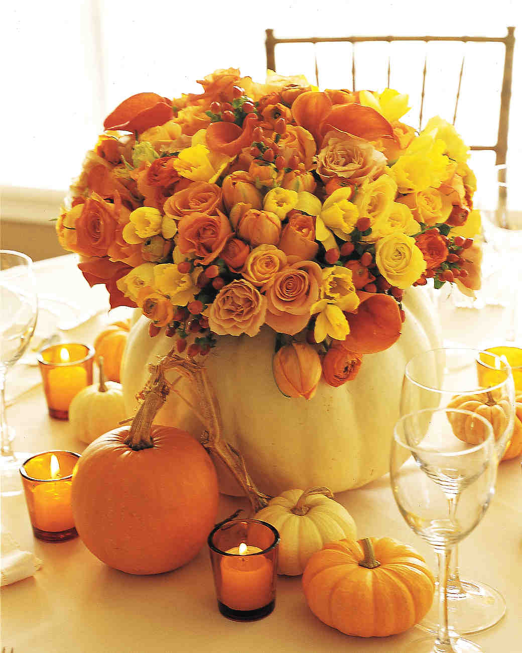Fall Centerpiece in Hollowed White Pumpkin