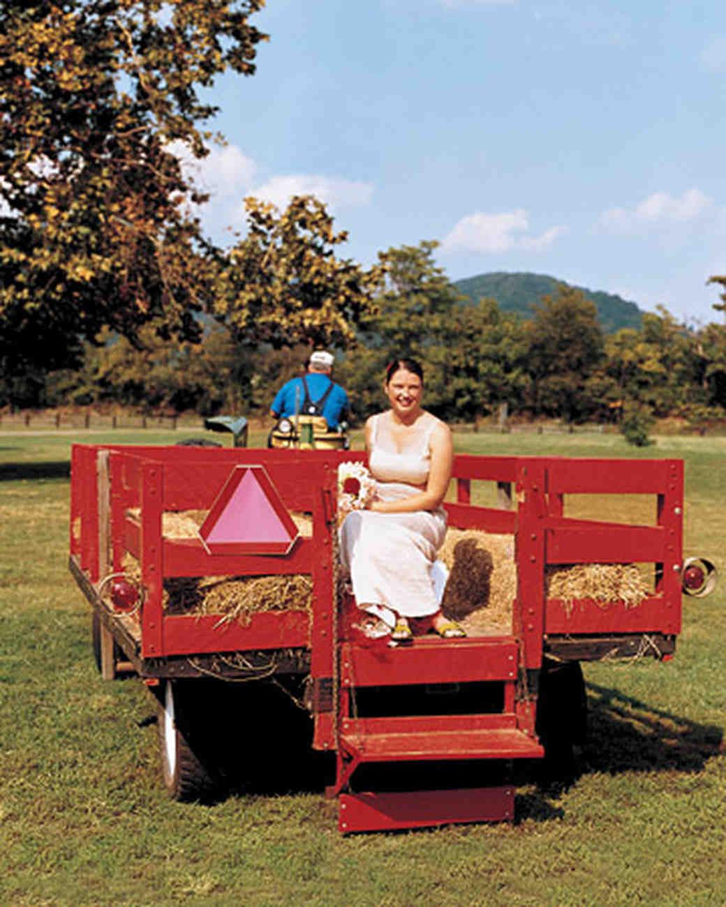 Bride on Hay Ride