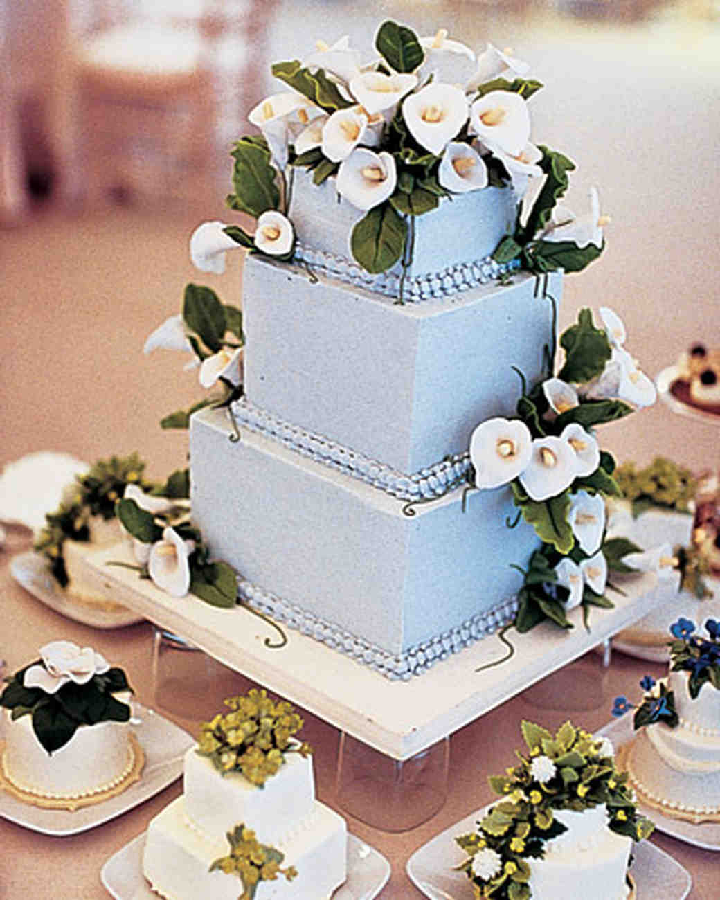 Blue Wedding Cake with Calla Lillies