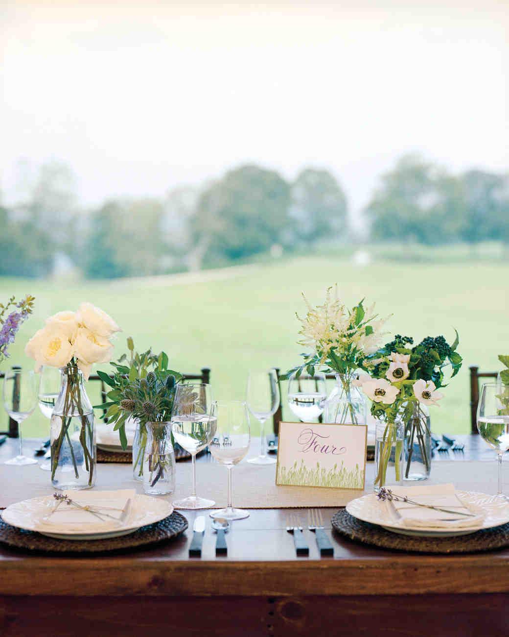 wedding reception arrangements for tables