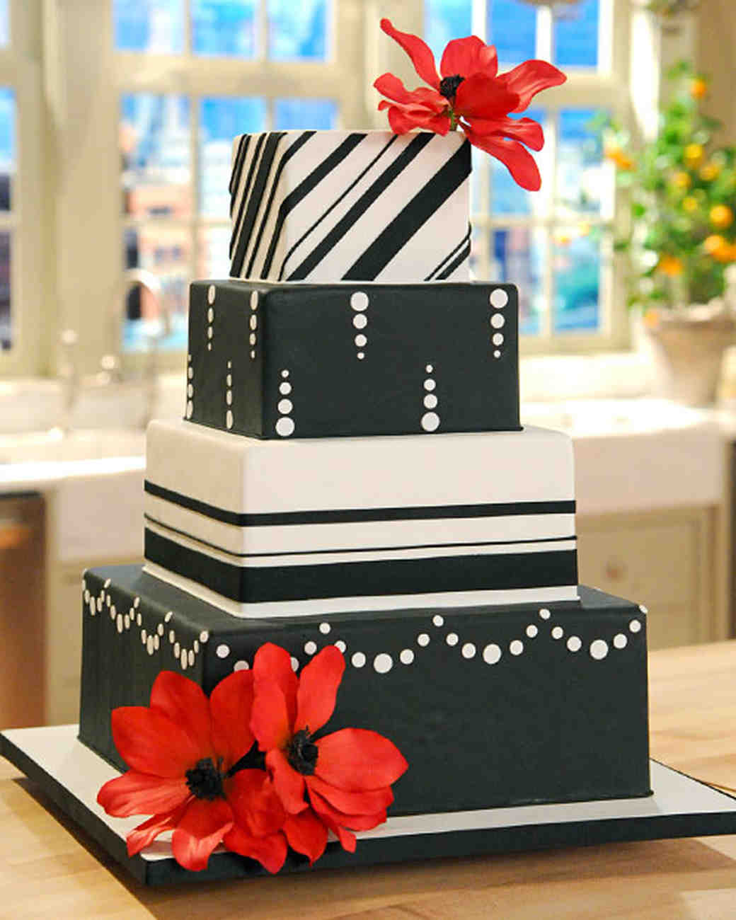 Black, White, and Red Wedding Cake