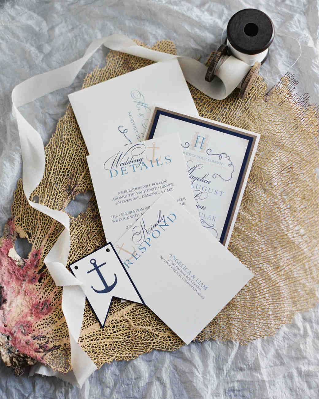 anchor motif wedding invitation