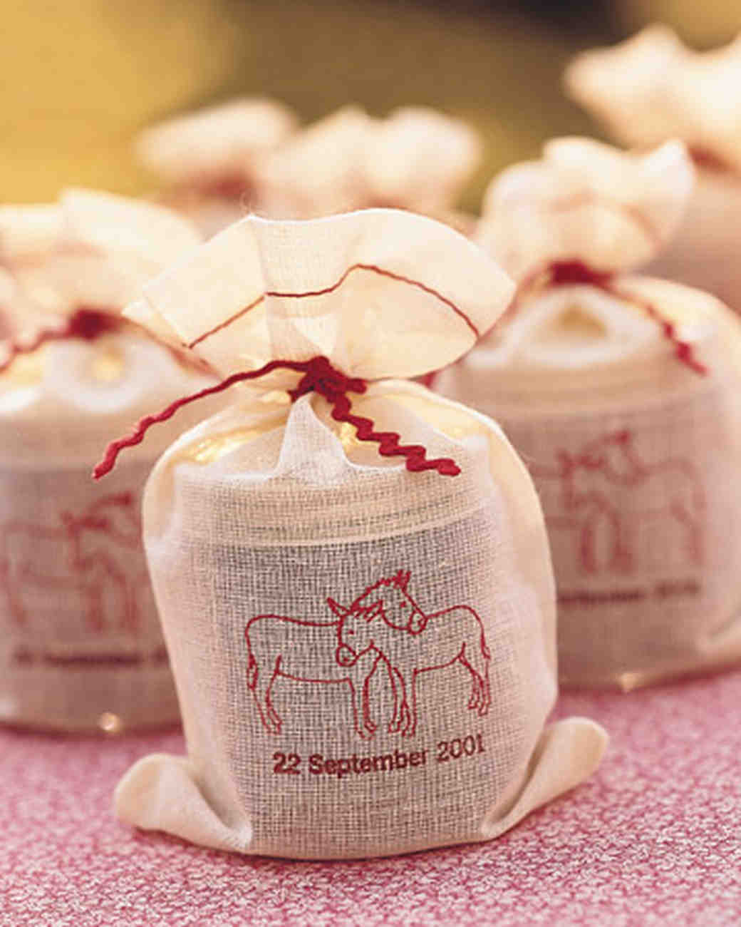 Muslin Bags with Custom Wedding Stamp