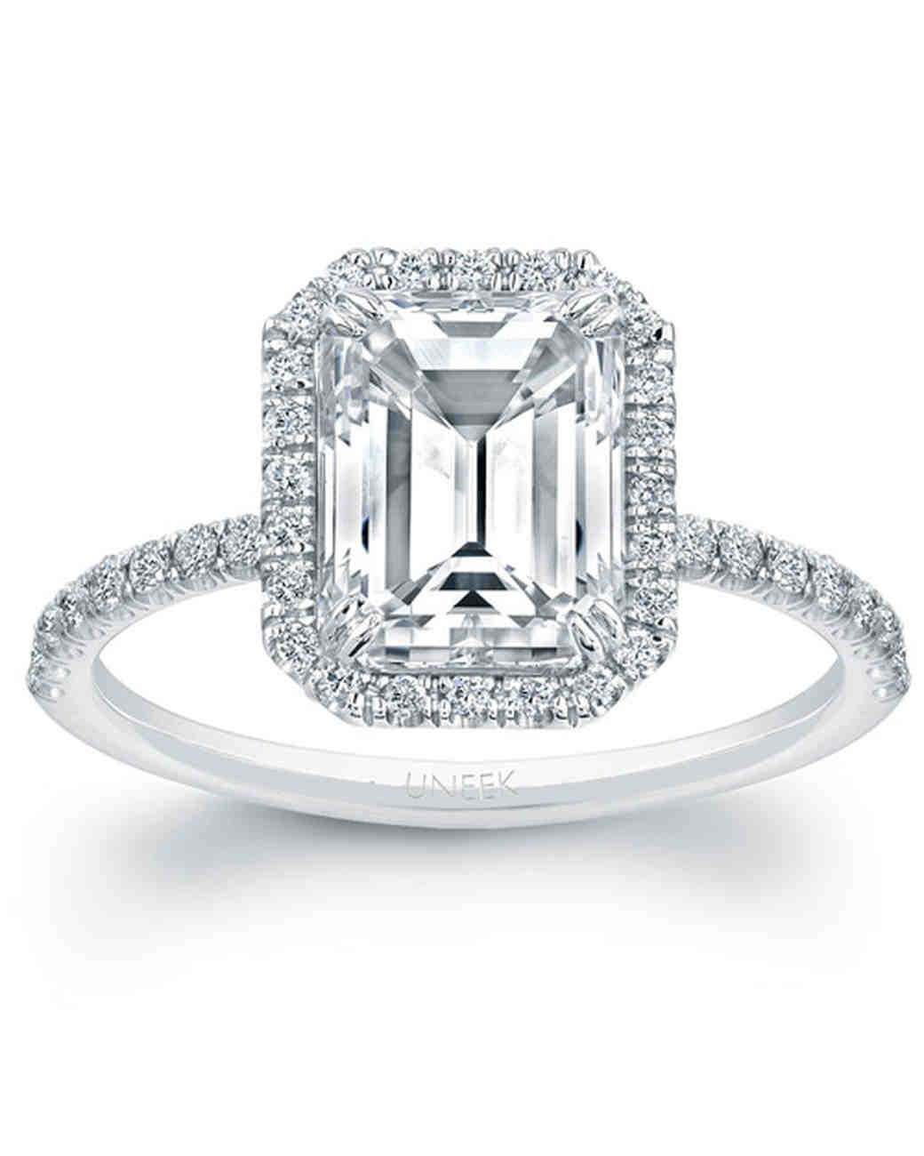 diamond ring in jewellery engagement rockher white platinum rings set bezel emerald cut solitaire