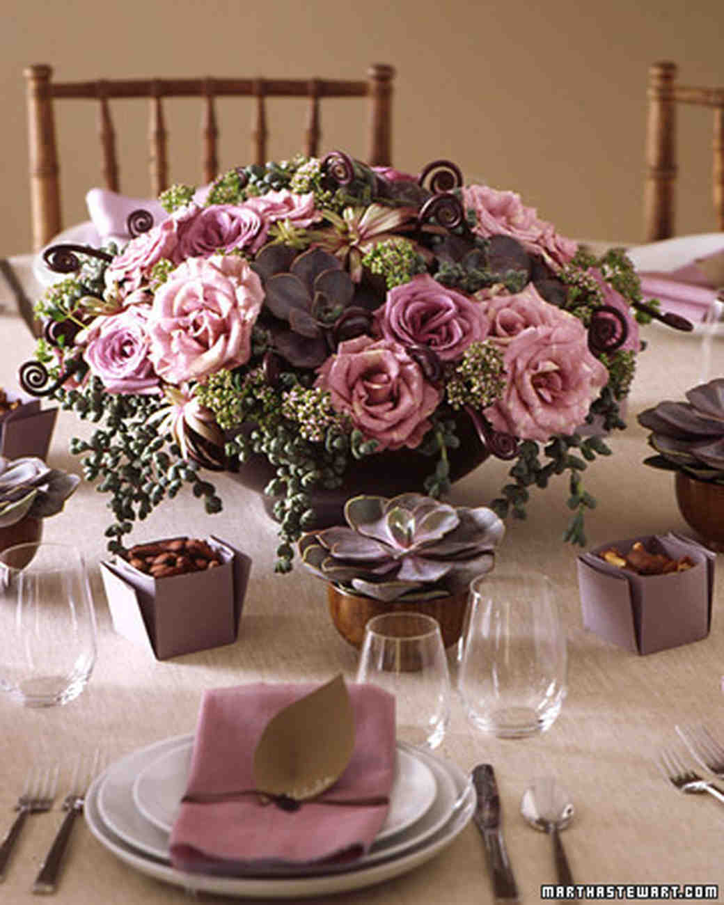 Purple and blue wedding centerpieces martha stewart weddings rose centerpiece table arrangements for your wedding in romantic purple dhlflorist Image collections