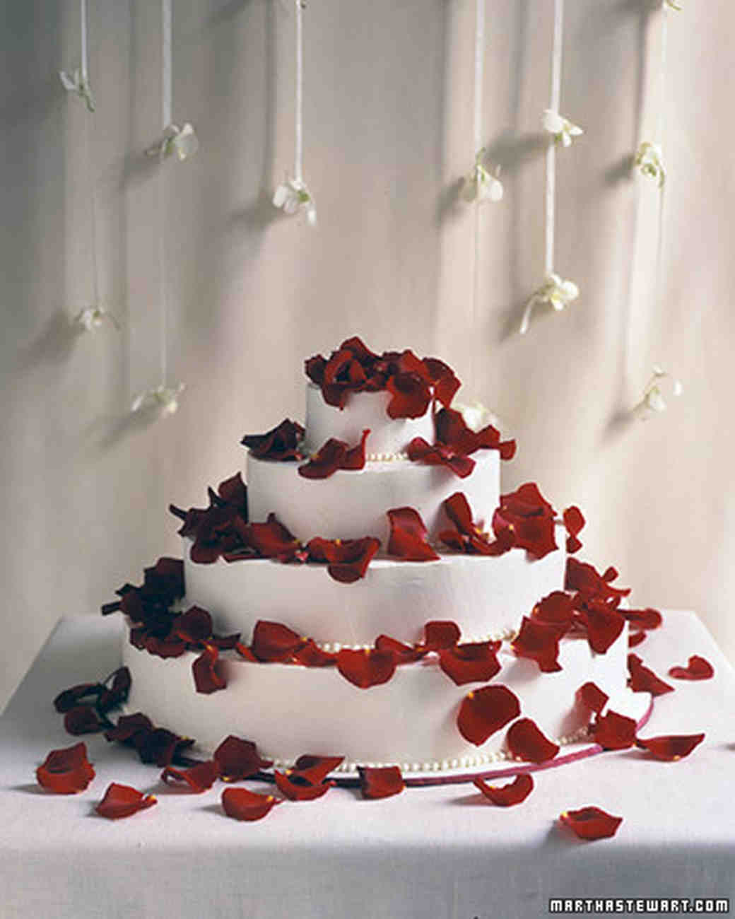Red wedding cakes martha stewart weddings petal shower cake junglespirit Gallery