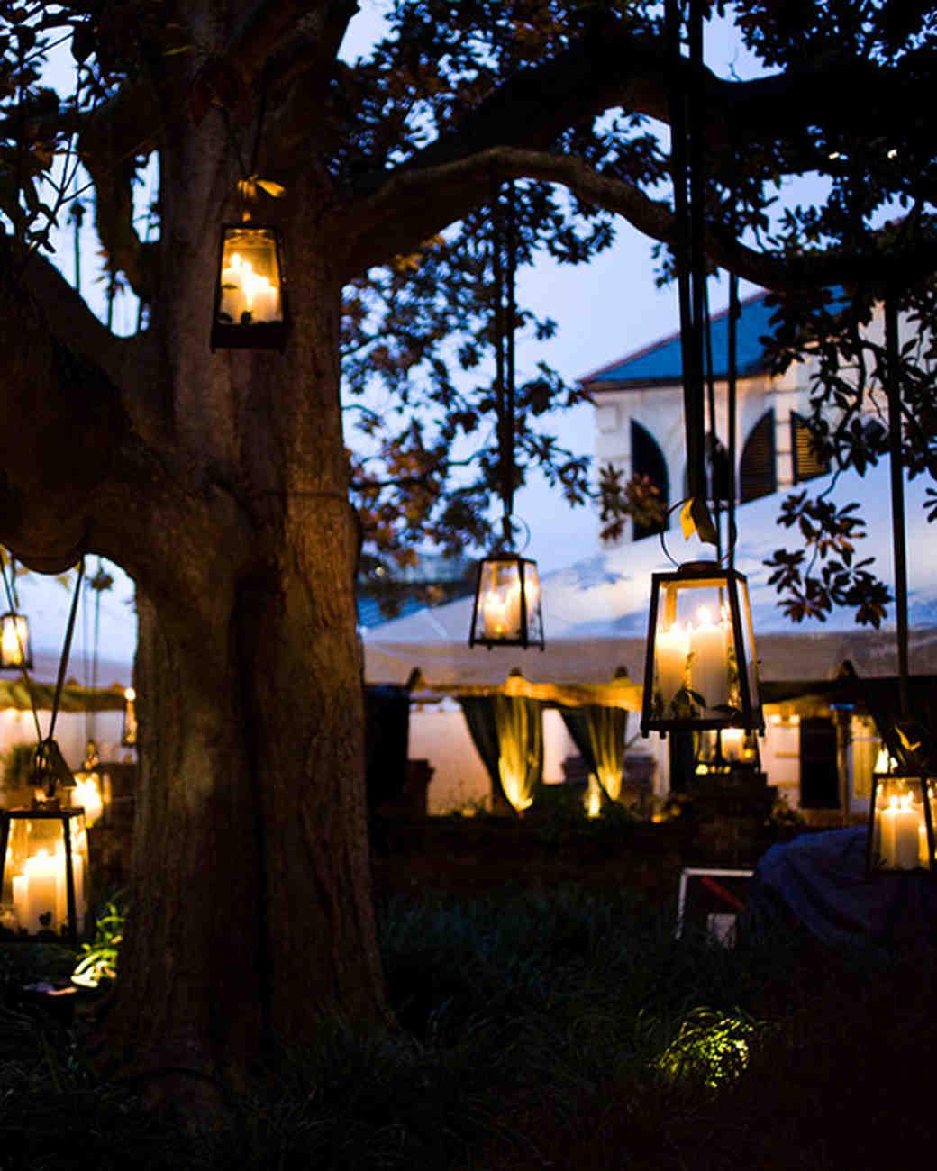 Outdoor Hanging Tree Lights: 47 Hanging Wedding Décor Ideas