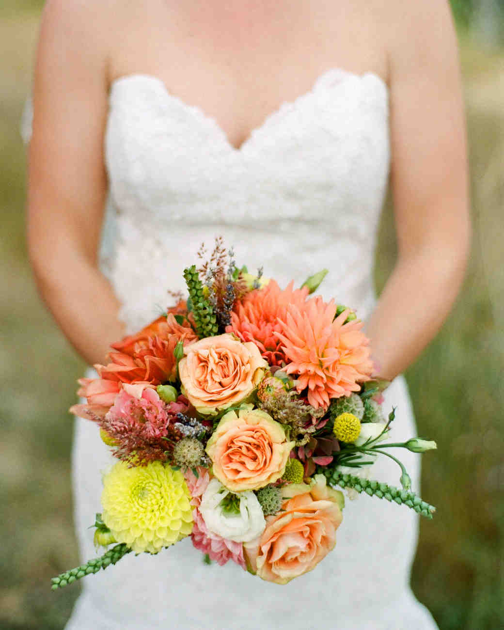 Peach and Yellow Wedding Bouquet