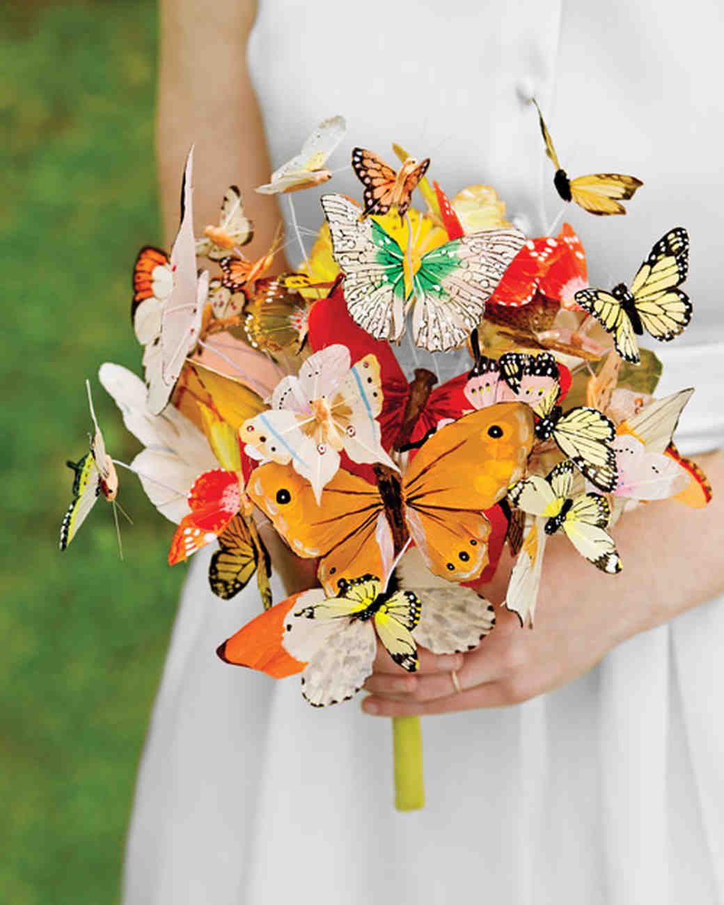 Wedding bouquets without a flower in sight martha stewart weddings butterfly bouquet izmirmasajfo Images