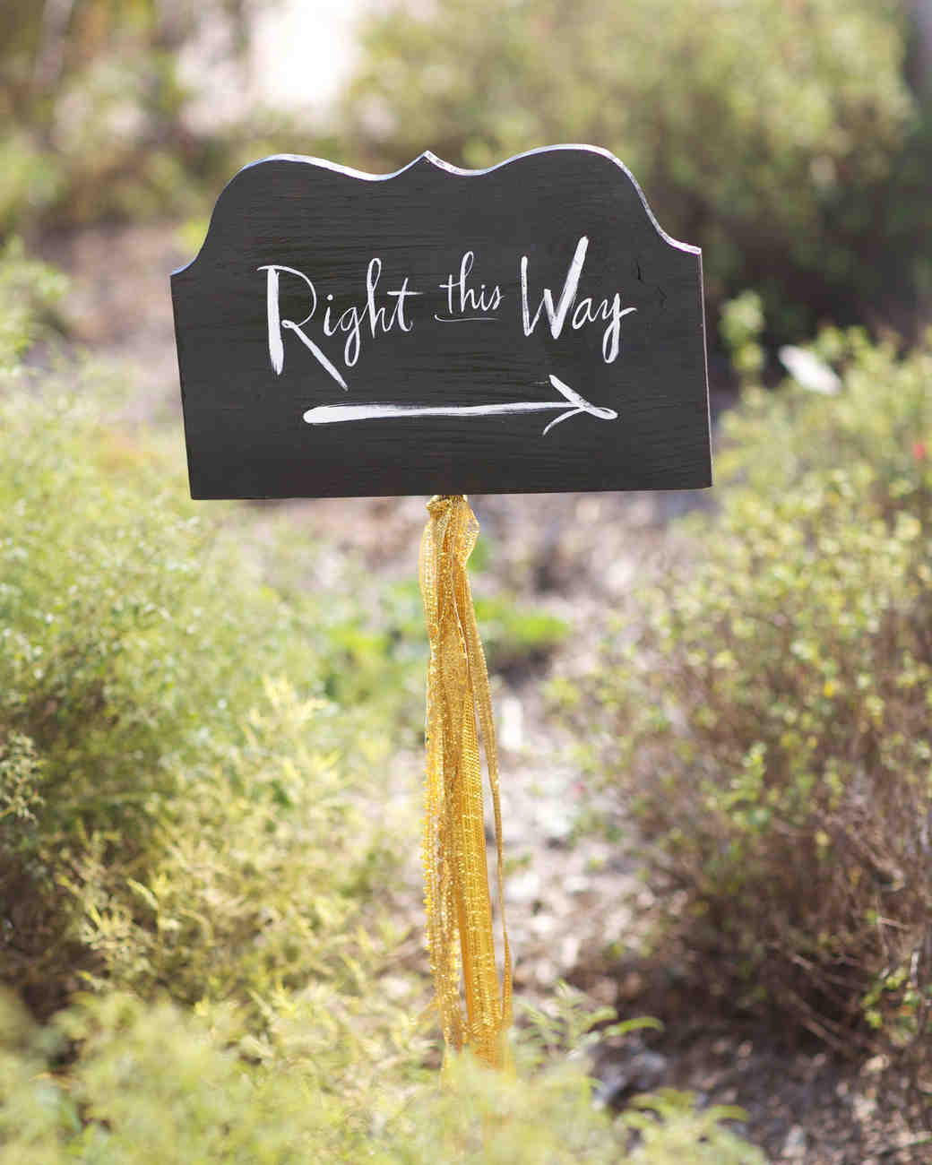 "Calligraphed ""Right This Way"" Sign"