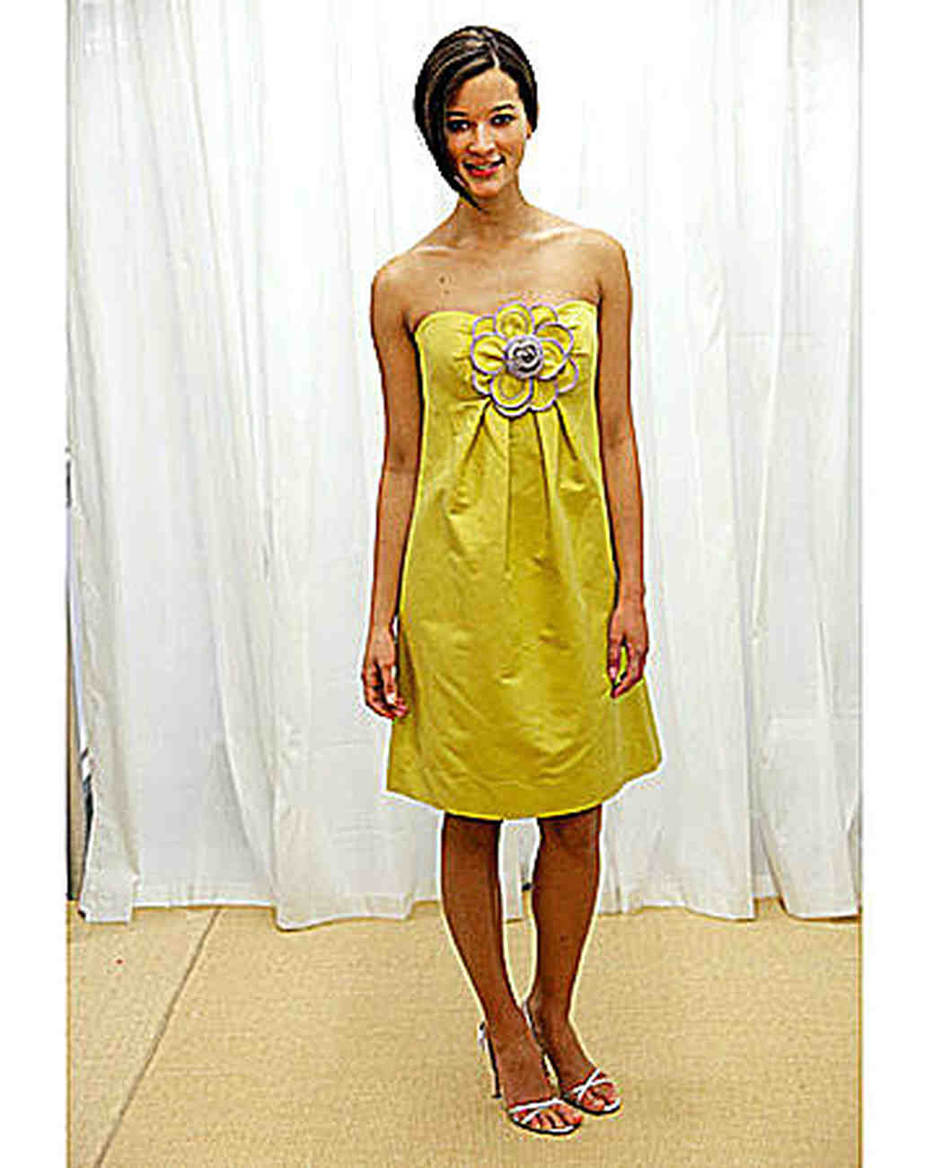 Yellow and orange bridesmaid dresses martha stewart weddings yellow strapless dress with flower ombrellifo Image collections