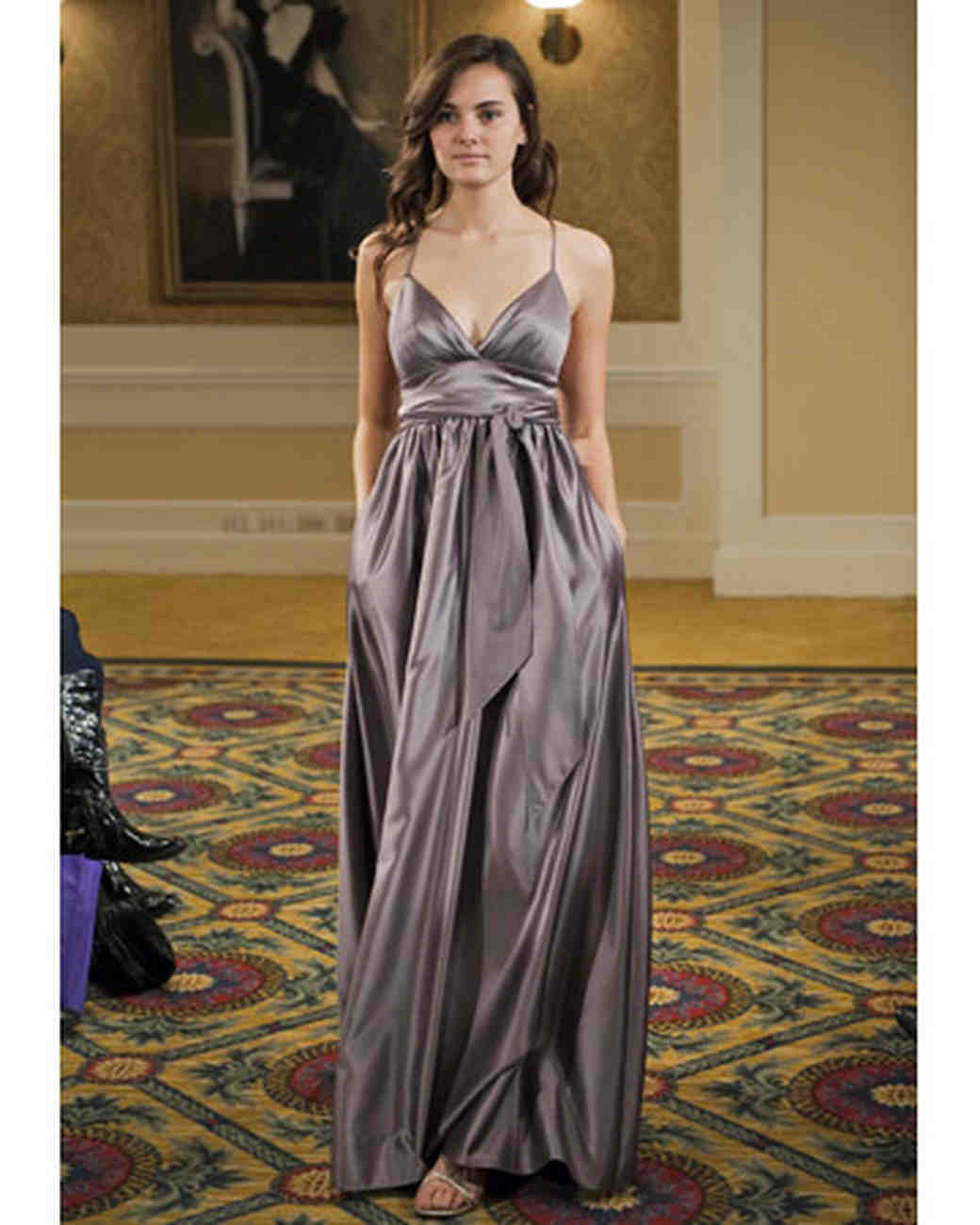 Gray Silk Long Dress