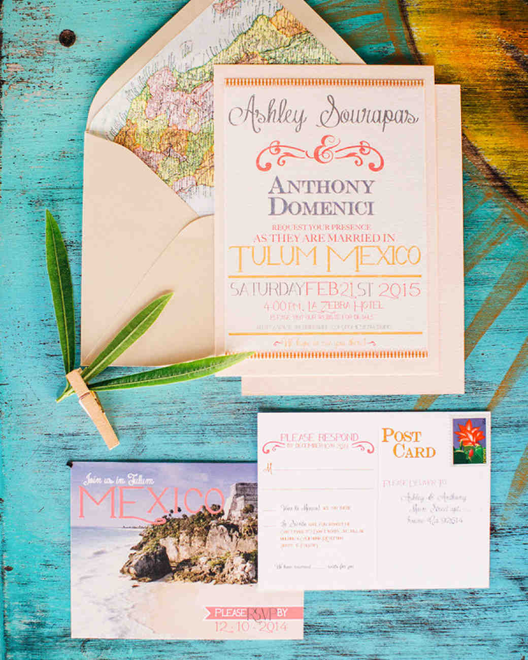 Mexico postcard wedding invitation