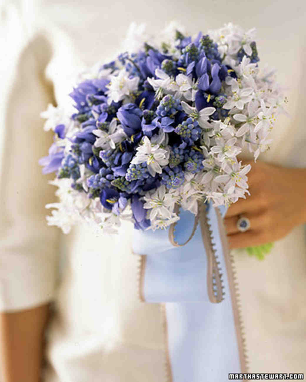 Blue and lavender wedding flowers martha stewart weddings blue and white wedding bouquet izmirmasajfo