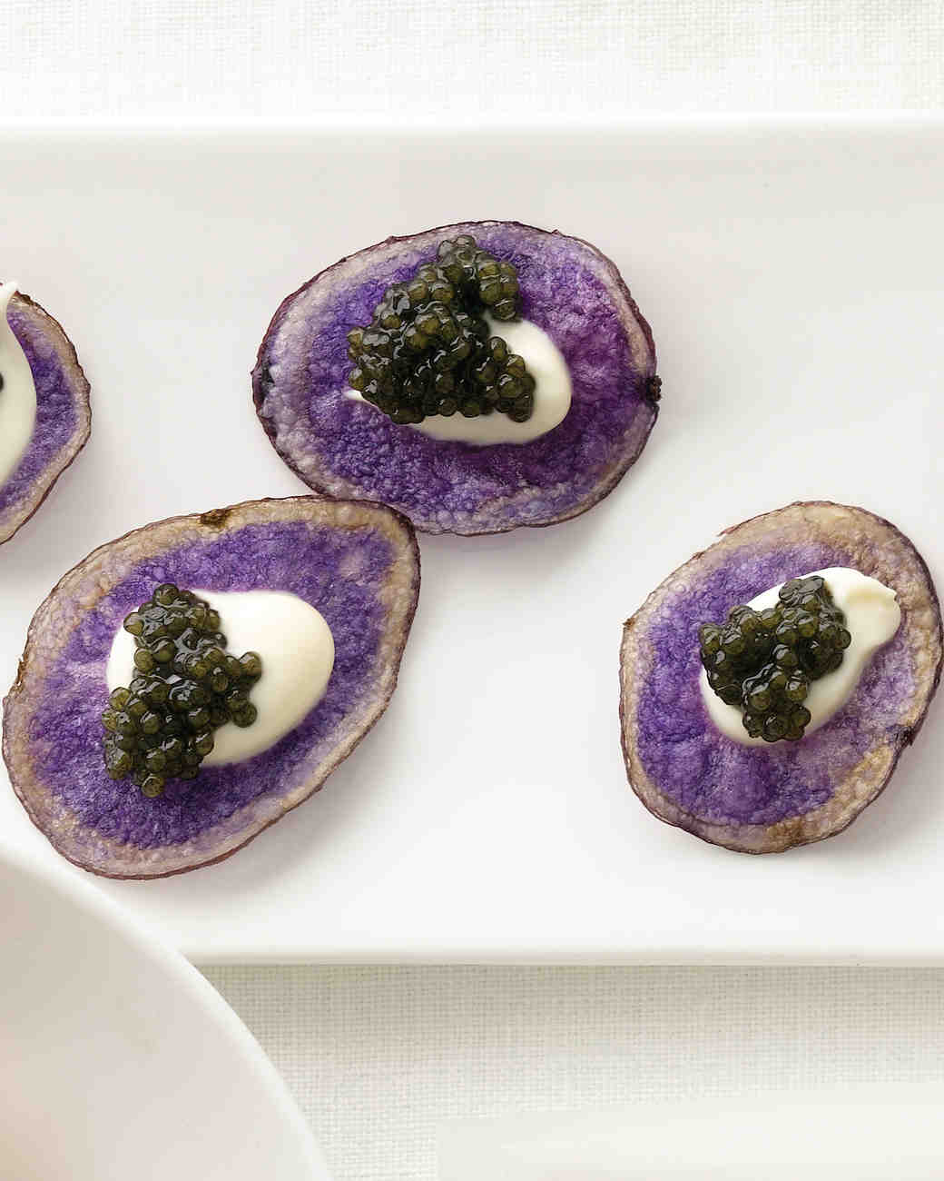Purple Potato Chips with Creme Fraiche and Caviar Recipe