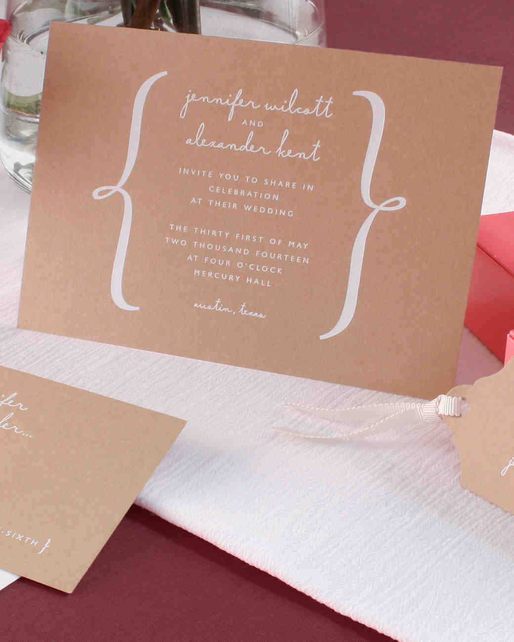 kraft wedding invitation