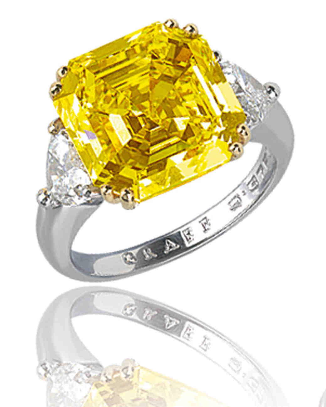Yellow Asscher-Cut Diamond Engagement Ring on Platinum Band