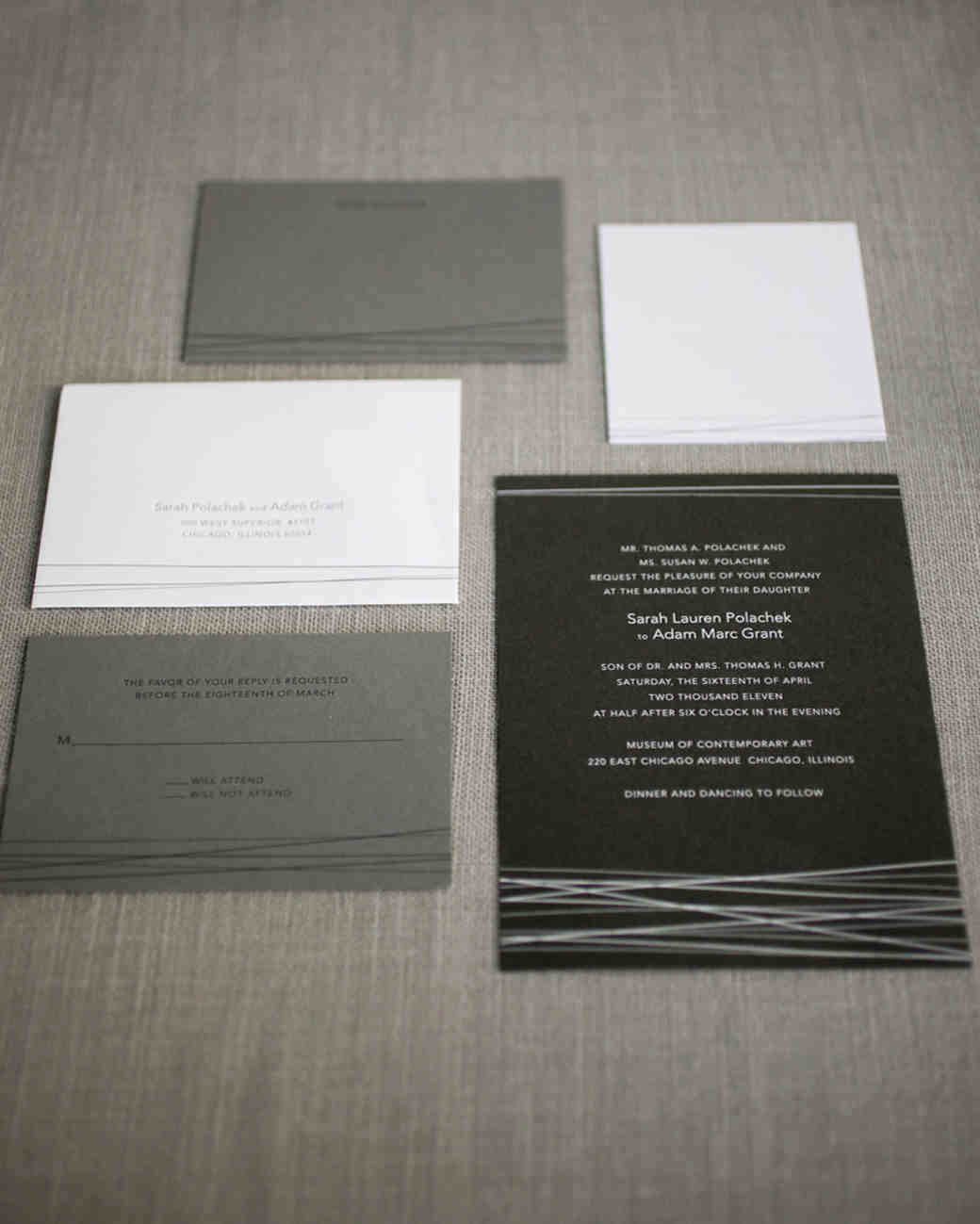 sleek wedding invitation