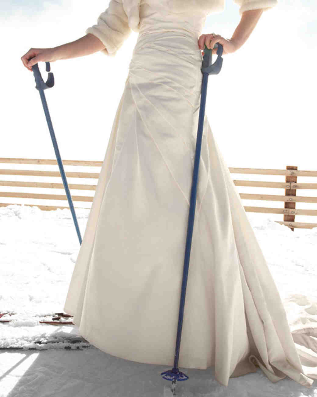 bride on skis
