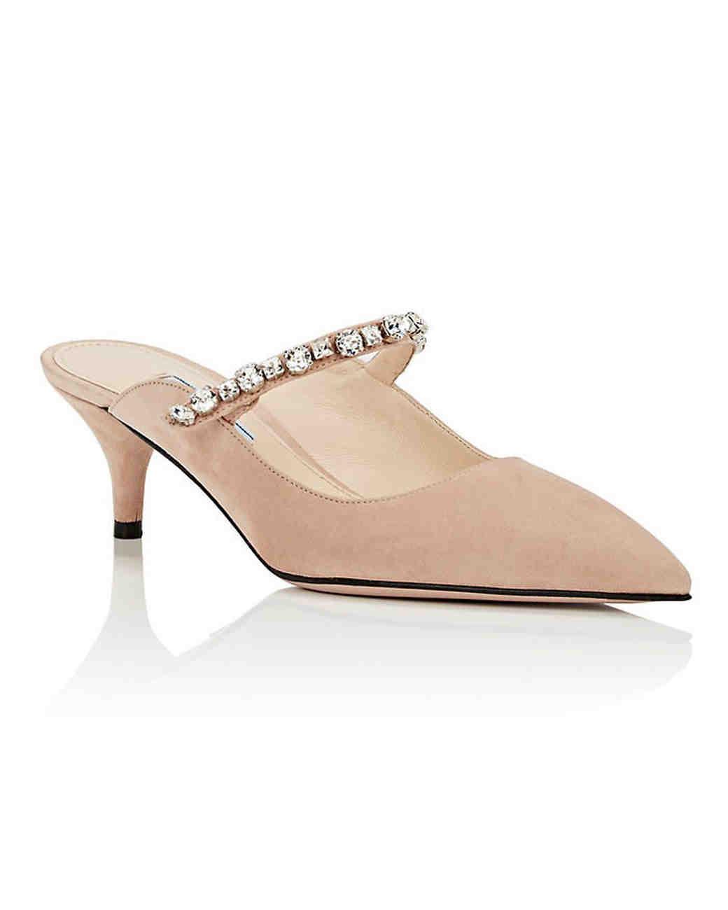 nude shoe crystal embellished suede mules prada